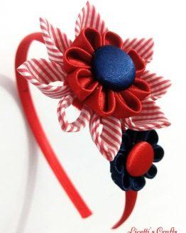 Diadema kanzashi doble flor roja