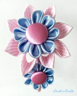 Flores kanzashi azul celeste