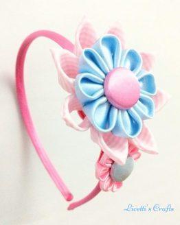 Diadema Kanzashi fucsia rosa celeste