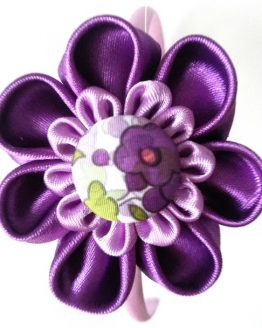 flor kanzashi tejido estampado morado