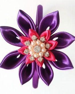 flor kanzashi morada y fucsia
