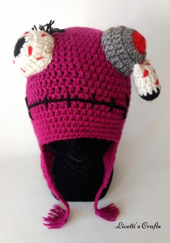 Gorro lana alpaca monstruo morado