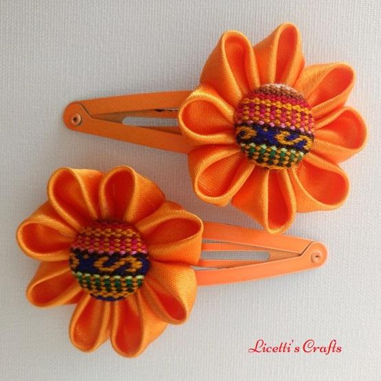 Flores kanzashi para pinza naranja
