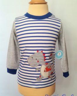 Camiseta manga larga bebé dinosario azul con púas