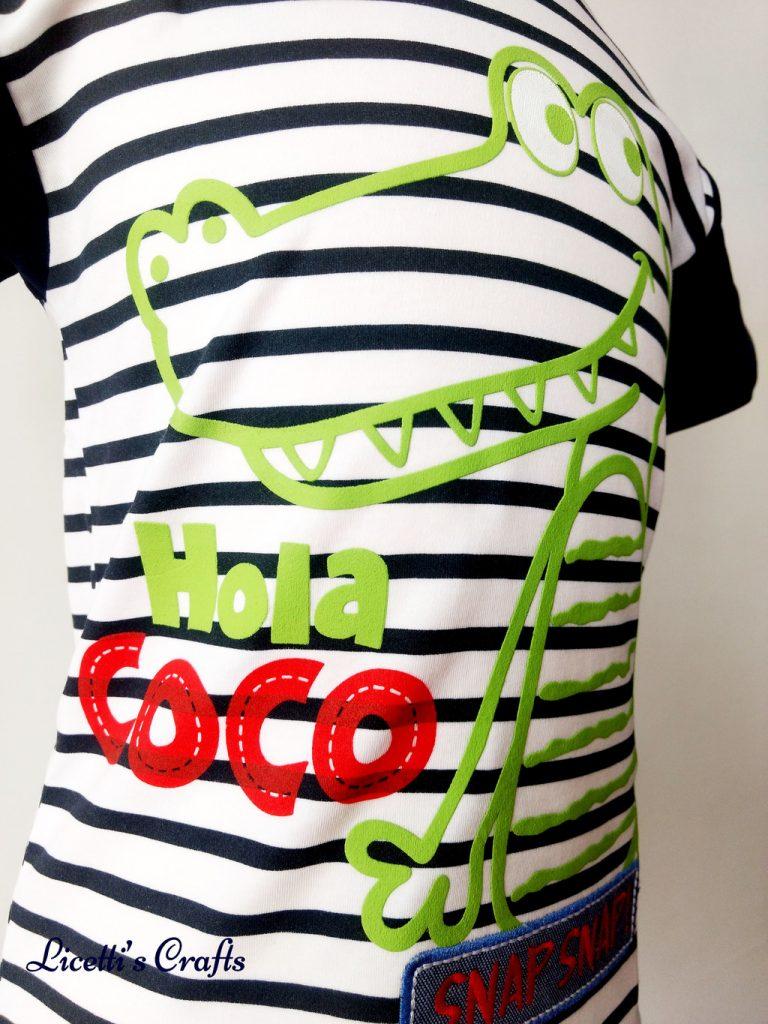 Detalle cocodrilo en relieve para camiseta algodón pima