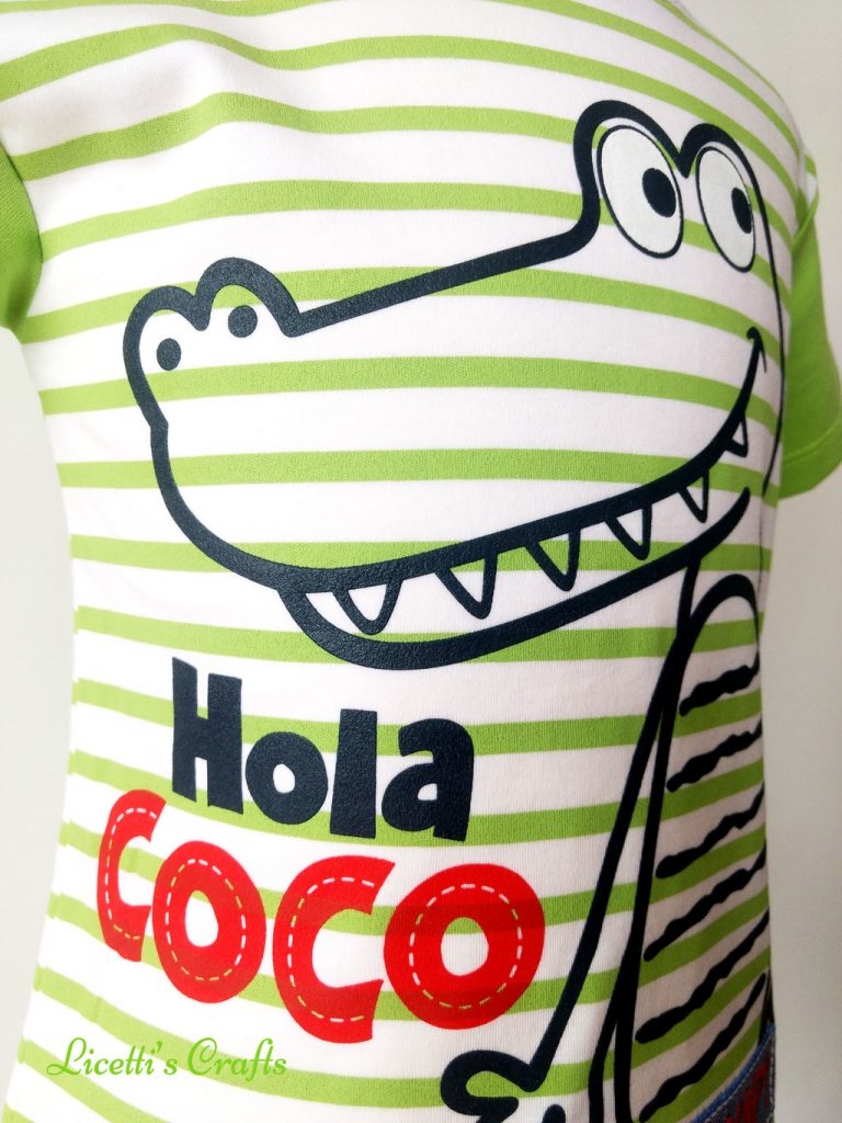 Zoom cocodrilo en relieve para camiseta algodón pima