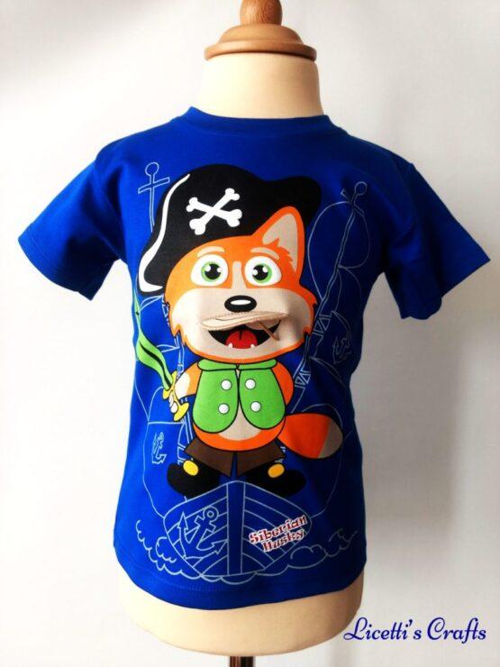 Camiseta algodón pima con zorro pirata en relieve en azulon