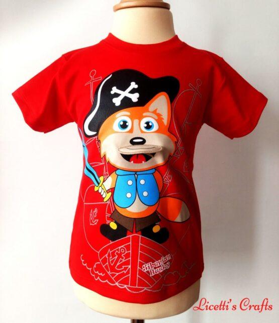 Camiseta algodón pima zorro pirata rojo