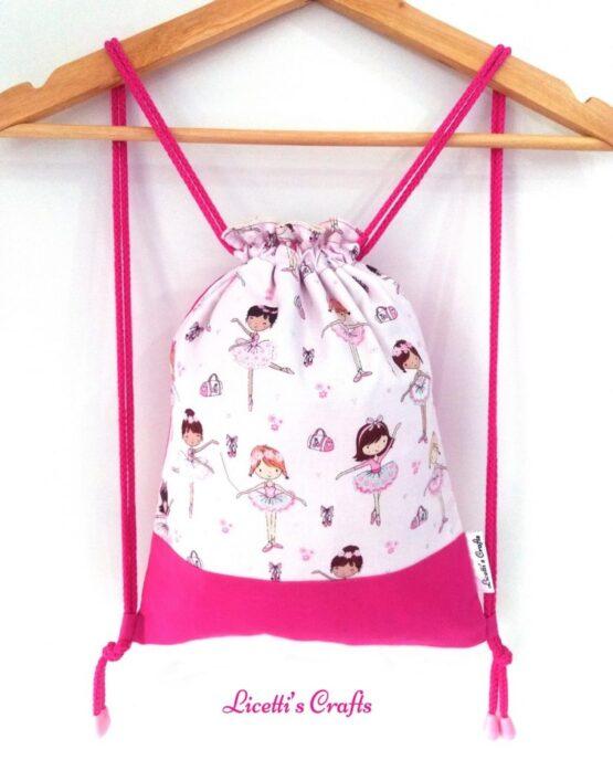 mochila cuerdas infantil hecha a mano bailarinas