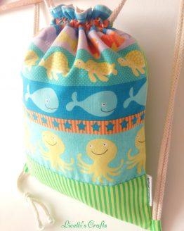 detalle mochila cuerdas hecha a mano animales marinos