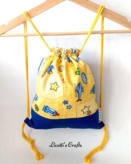 mochila infantil cuerdas algodón aviones amarilla