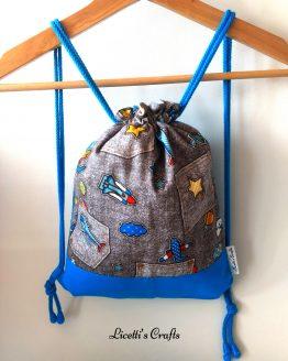 mochila hecha a mano cuerdas aviones gris