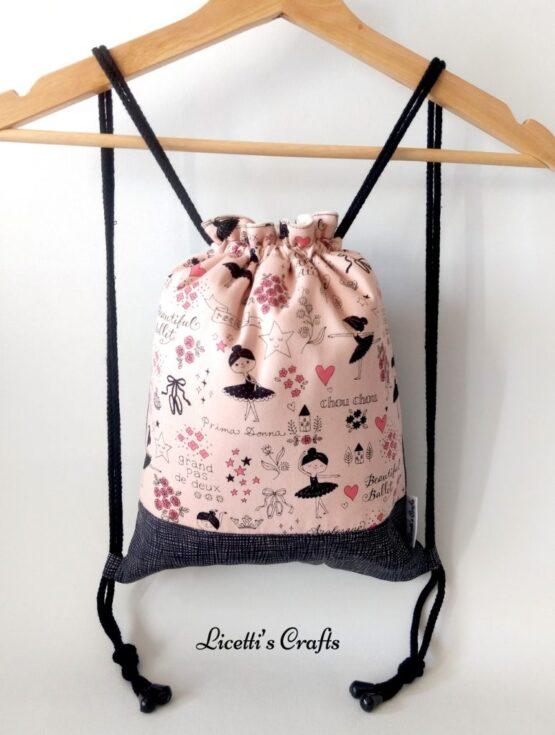 mochila cuerdas hecha a mano gris bailarinas vintage