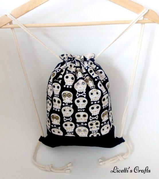 mochila cuerdas hecha a mano calavera mexicana negra