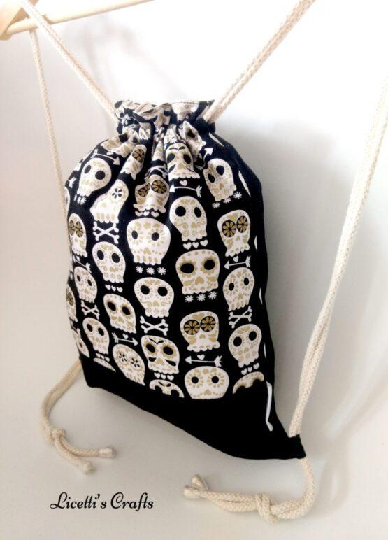 mochila artesanal cuerdas algodón calavera mexicana