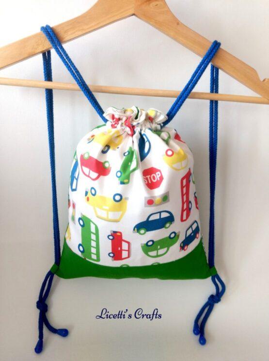 mochila cuerdas hecha a mano coches infantil