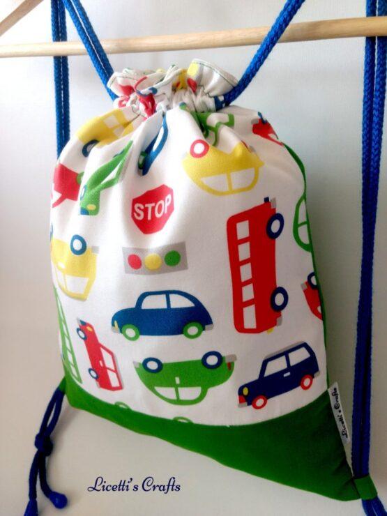 mochila artesanal cuerdas coches infantil