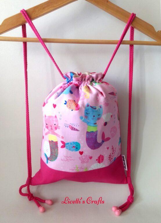 mochila infantil cuerdas hecha a mano sirenas gatos