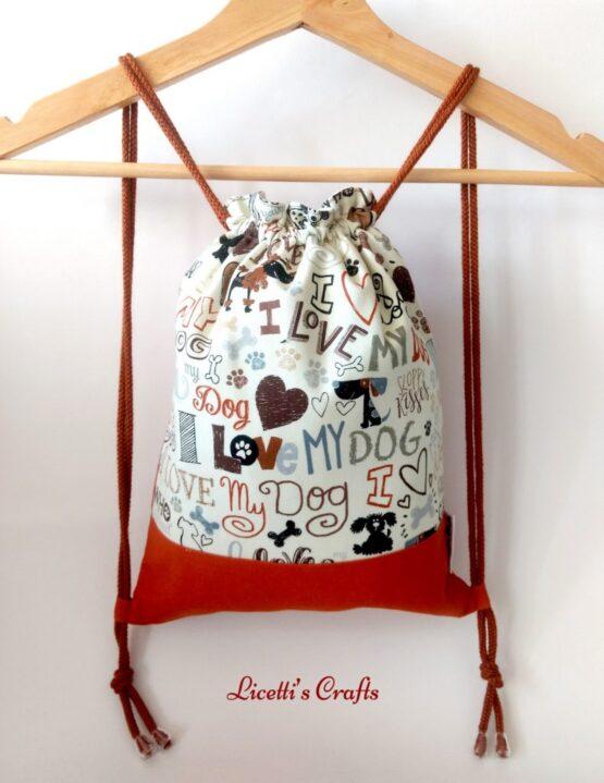 mochila cuerdas hecha a mano perros marrón