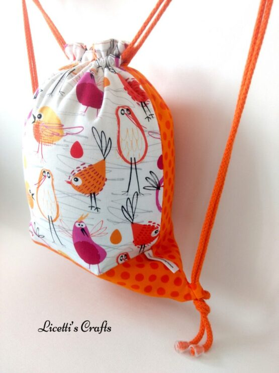 mochila cuerdas artesanal pájaros naranja