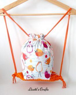 mochila cuerdas hecha a mano pájaros naranjas