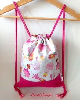mochila cuerdas hecha a mano princesas rosas