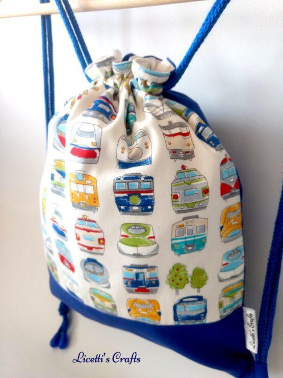 mochila cuerdas artesanal trenes algodón