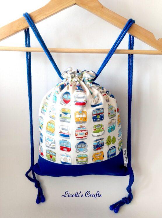 mochila cuerdas hecha a mano trenes azúl