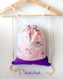 mochila cuerdas hecha a mano unicornio rosa