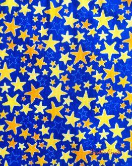 Tejido algodón americano estrellas amarilla y naranja fondo azulón