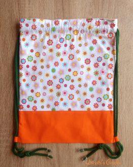 mochila hecha a mano tejido flores en algodón