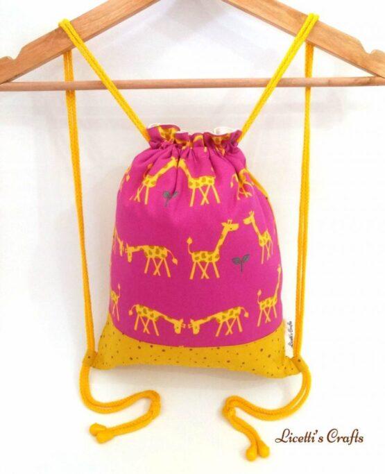 Mochila cuerdas tejido pareja jirafas
