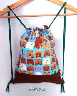 Mochila cuerdas con tejido de osos