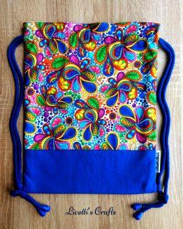 Mochila cuerdas hecha a mano paisley azulón