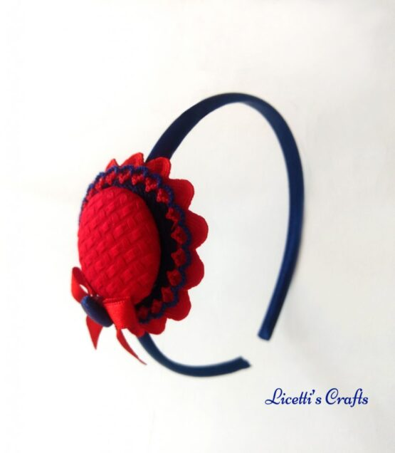 Diadema trendy roja clásica lazo seda