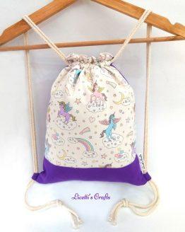 mochila artesanal de algodón unicornio arcoiris