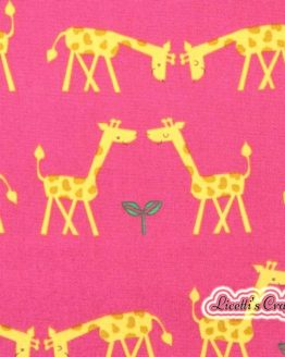 Tejido infantil algodón pareja jirafas rosa