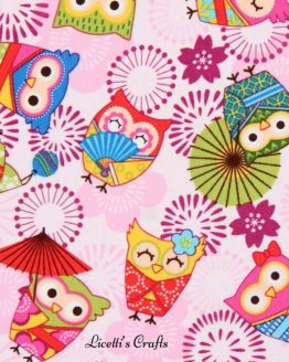Tejido algodón para niñas búhos fondo rosa