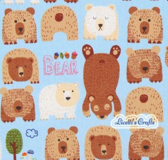 Tejido algodón infantil osos Grizzley