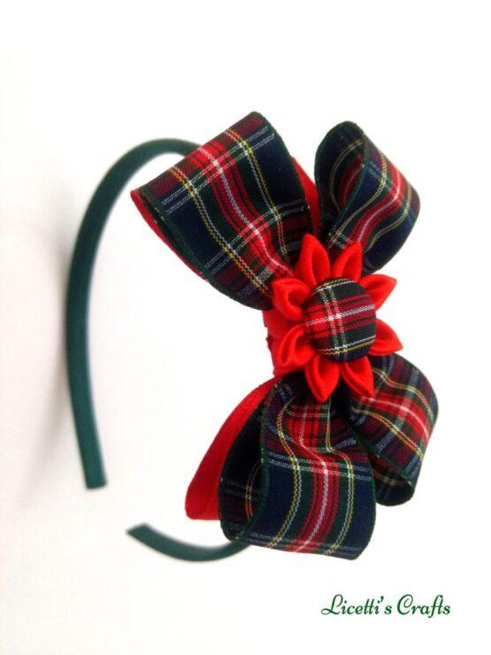 diadema roja y verde cuadro escoces