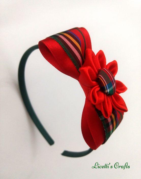 Diadema hecha a mano lazo rojo