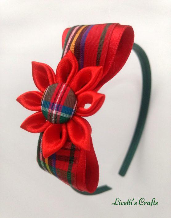 Diadema hecha a mano cuadro escoces rojo