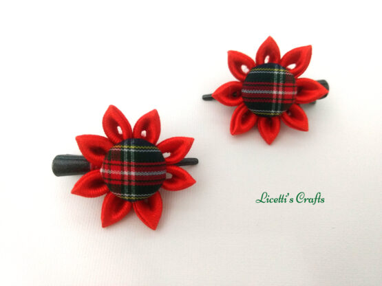 Pareja pinzas kanzashi flor roja