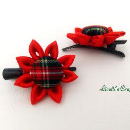 Pinzas cabello pequeñas roja y verde