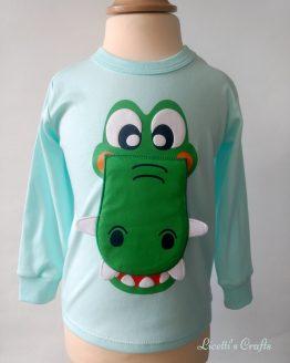 camiseta bebé manga larga cocodrilo boca en relieve