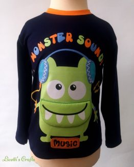 camiseta manga larga algodón pima monstruo boca