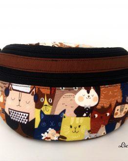 detalle bolsillos riñonera infantil gatos japón