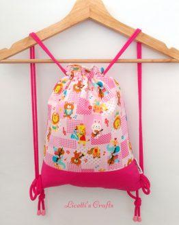 mochila infantil cuerdas hecha a mano musical animal
