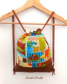 mochila infantil cuerdas hecha a mano tortuga cocodrilo lagartija