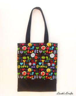 Bolsa Tote bag de algodón tejido gatos de colores
